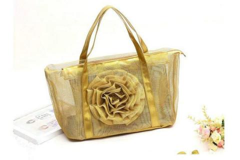 Netscoco fashion flowers mesh bag beach handbag supplier manufacturer gold ladies womens