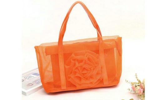 Netscoco fashion flowers mesh bag beach handbag supplier manufacturer orange ladies womens
