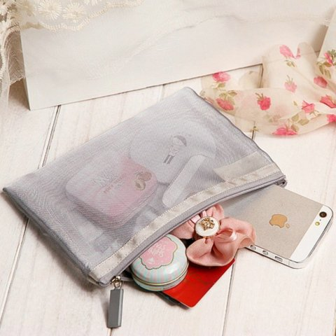 Netscoco Details Image Fashion Mesh Makeup Bag Ladies Cosmetic Bag Women's Travel Toiletry Pouch Silver Mesh Sheer Suppliers Manufacturer Factory Best Seller Gallery New Arrive