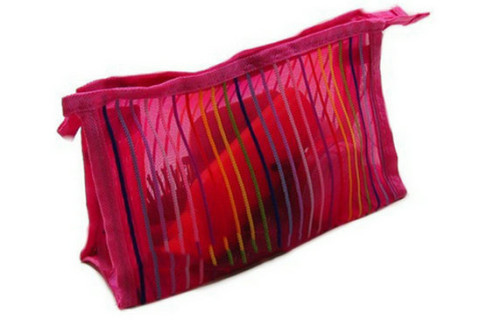 Rainbow stripes mesh makeup bag nylon mesh cosmetic bag