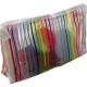 Rainbow stripes mesh makeup bag nylon mesh cosmetic pouch supplier