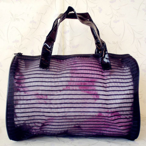 Stripe Lbeach bag supplier, beach bag manufacture, lace Nylon Mesh Application Travel bag
