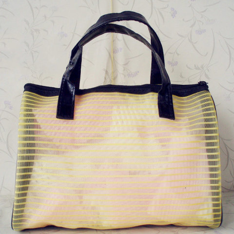 beach bag supplier, beach bag manufacture, Stripe Lace Nylon Mesh Travel bag